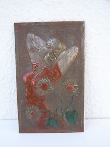 Vintage Marvelous Russian Hand Made Tin Hammered Wall Hanging Relief Painting