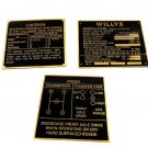 Set Of Three Rare Data Plate Vintage Acid Etched Brass Willys Jeep Nomenclature