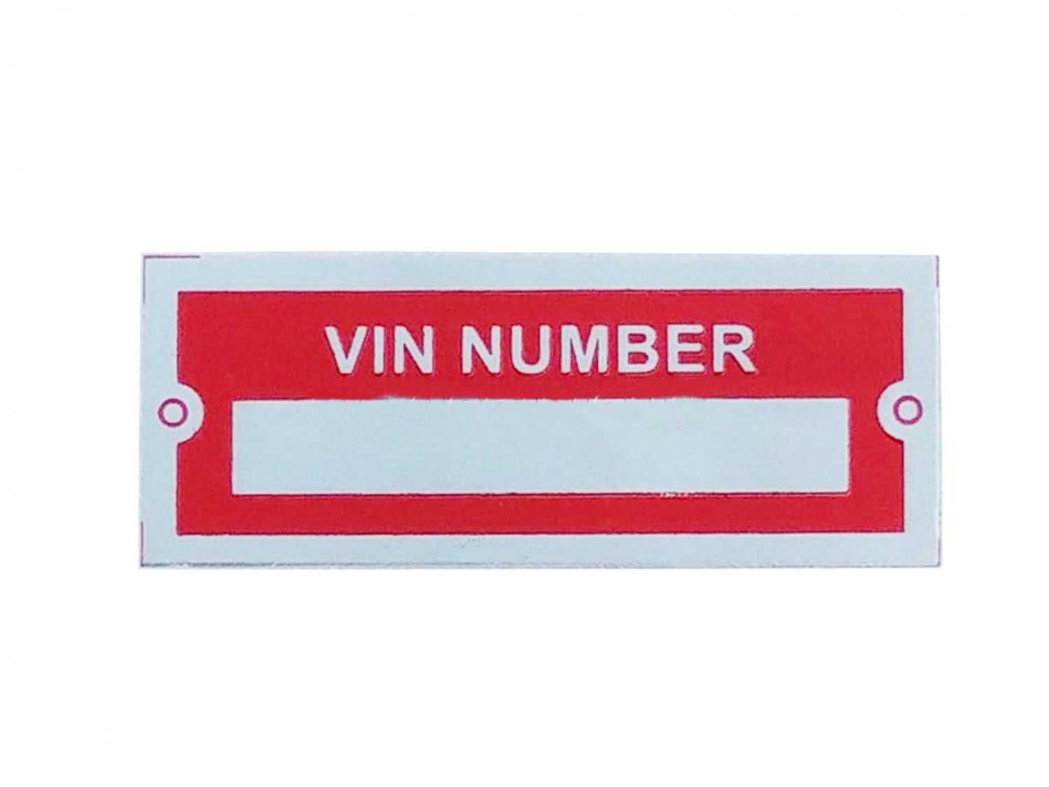 New Aluminium Number Blank VIN NUMBER Red Plate Data/Tag Small