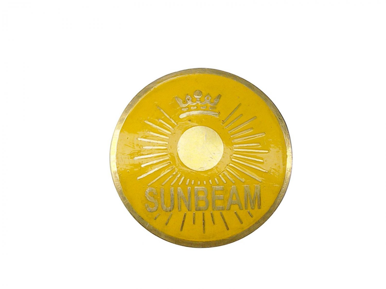 New Sunbeam Brass/Chromed Grill Radiator Badges/Monograms - Car Yellow