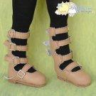 "4-Strap Mary Jane Doll Shoes Boots Milk Tea for Yo-SD BJD Dollfie 12"" Kish Dolls"