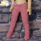 Stretch Knit Stockings Tights Red White Stripes for Yo-SD Littlefee BJD Dolls