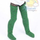 "Releaserain Green/Black Stripes Stockings Socks for 12"" Kish Bethany dolls"