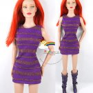 "Releaserain Doll Clothes Gold Stripes Dress Purple For 16"" Fashion Dolls"