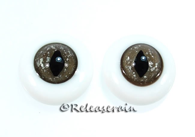 Releaserain Doll Glass Eyes Cloudy Chocolate Cat 18mm #CE04 for BJD Dollfie dolls