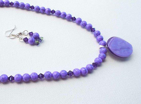 Purple Black Dragon Vein Beaded Necklace, Button Pendant Necklace