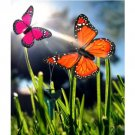 HQRP 2 Solar Powered Flying Fluttering Butterflies Orange&Pink for Garden Plants