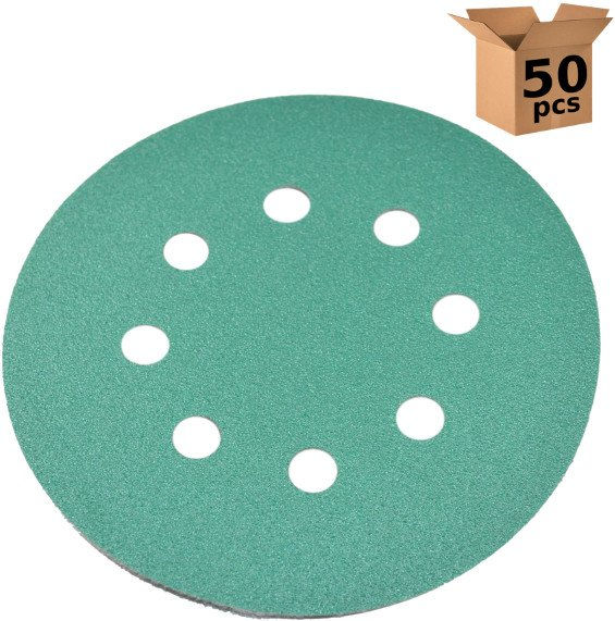 50x HQRP 5 inch 8-Hole 120-Grit Dustless Hook & Loop Sanding Discs Random Orbit