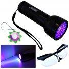 HQRP 51-LED UV 395nm Ultra Violet Blacklight UV Flashlight Torch Light + Glasses