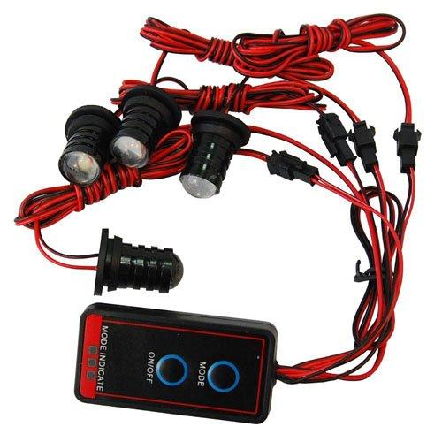 HQRP 4 LED Vehicle Flash White Strobe Emergency Lights Bulbs w/ Control Panel