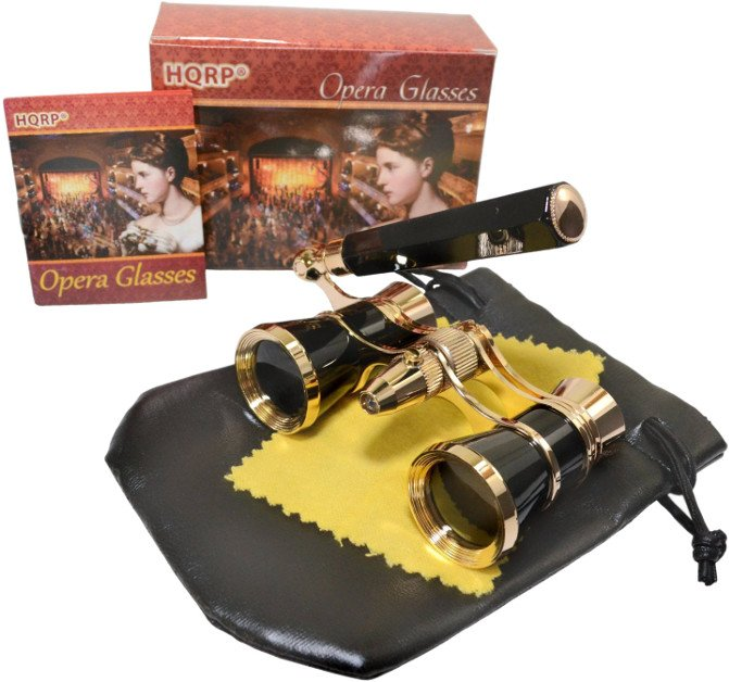 HQRP Theater Opera Glasses 3X25 Optics Black / Gold with Handle
