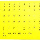 HQRP English PC Laptop Keyboard Stickers Black Letters on Yellow Background