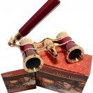 HQRP 3x25 Optics Theater Opera Glasses Burgundy Binocular Gold Trim with Handle