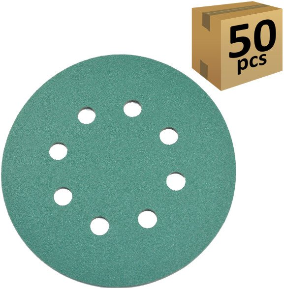 "50pcs HQRP 5"" 8-Hole 220-Grit Dustless Hook & Loop Sanding Discs Orbit Sander"