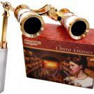 HQRP Theater Opera Glasses 3x25 Optics Binoculars White-Pearl/Gold Trim w/Handle