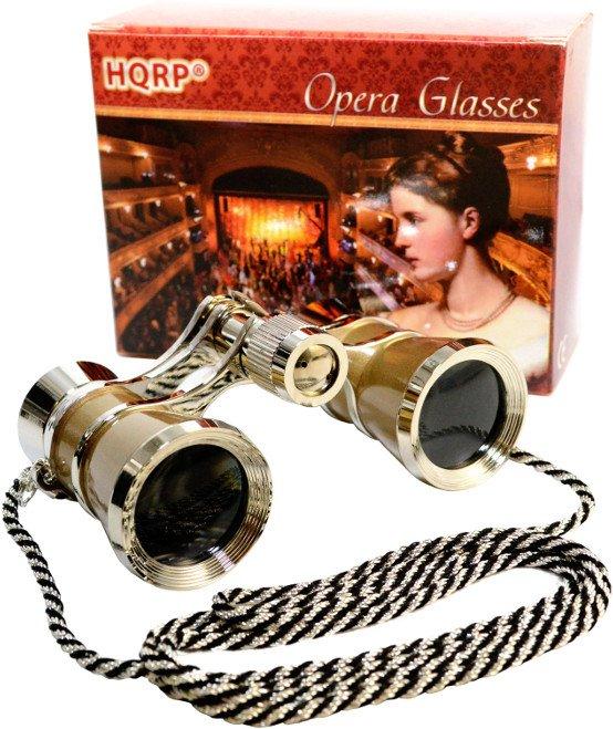 HQRP Opera Theatre Glass Optics Lens Binoculars Gold / Silver with Chain