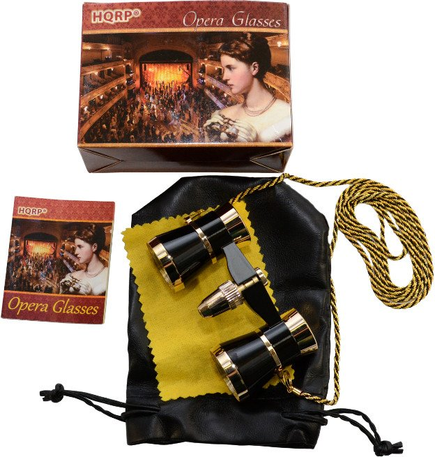 HQRP Black Opera Glasses Theater Binocular with Gold Trim & Necklace Chain