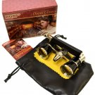 HQRP Theater Opera Glasses 3X25 Optics Black / Gold Binoculars with Handle
