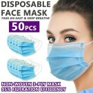50 PCS Disposable Face Mask Non Medical Surgical 3-Ply Earloop Dust Cover Blue