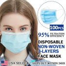 [100 PCS] Face Mask Non Medical Surgical Disposable 3-PLY Earloop Mouth Cover   GRI