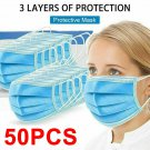 50 PCS 3-PLY Disposable Face Mask Medical Surgical Earloop Mouth Dust Cover     FGJ