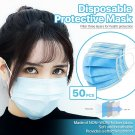 [50 PCS] 3-Ply Disposable Face Mask Non Medical Surgical Earloop Mouth Cover    FDJDFK