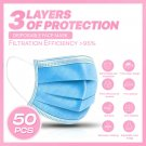 50PCS 3-PLY Layer Disposable Face Mask Dust Filter Safety Protection Non-Woven  FDJDF