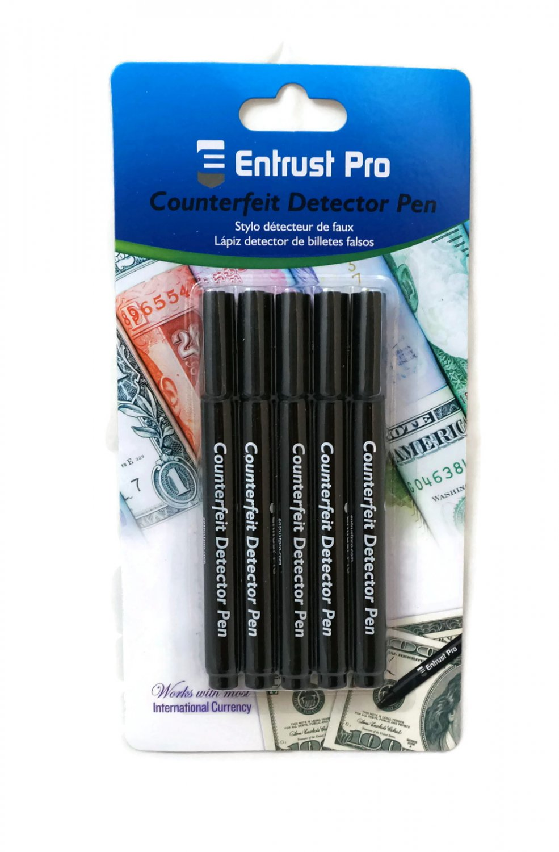 Entrust Pro Counterfeit Money Detector Pen Marker (5-Pack) Dollars Pesos Euros