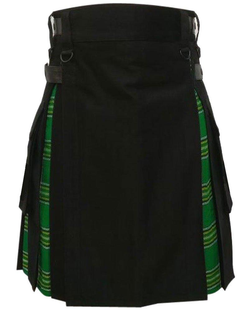 Men's Black Cotton Inner Irish Heritage Tartan Hybrid Kilt 28 Waist Size Adjustable Leather Straps