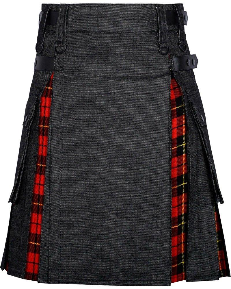 Active Men Black Denim Inner Wallace Tartan Hybrid Kilt with 28 Waist Size Adjustable Leather Straps