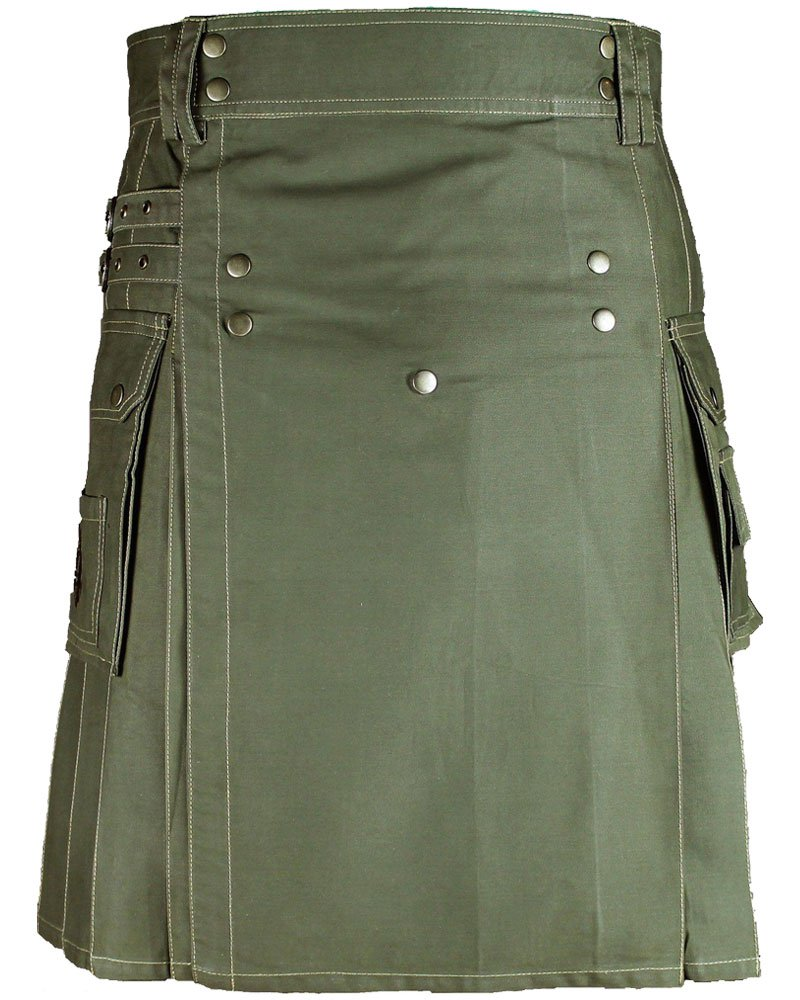Men's Utility Adjustable 28 Waist Olive Green 100% Cotton Kilt with Side Straps and Front Buttons