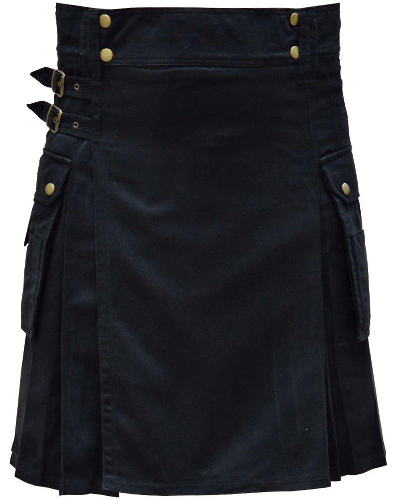 Highland Active Men Utility Sports Black Cotton Kilt with Adjustable 28 Waist Size