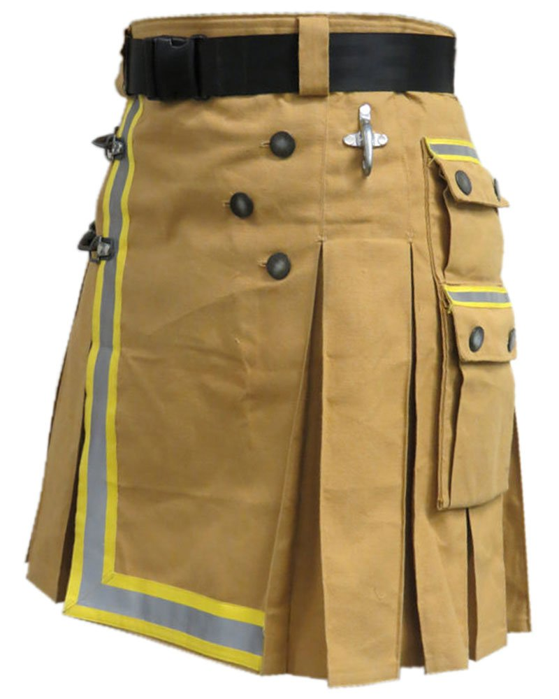 Fireman Khaki Cotton Utility Kilt with Cargo Pockets 26 Waist Size with Reflector Tape