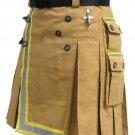 Fireman Khaki Cotton Utility Kilt with Cargo Pockets 26 Waist Size with Reflector Tape