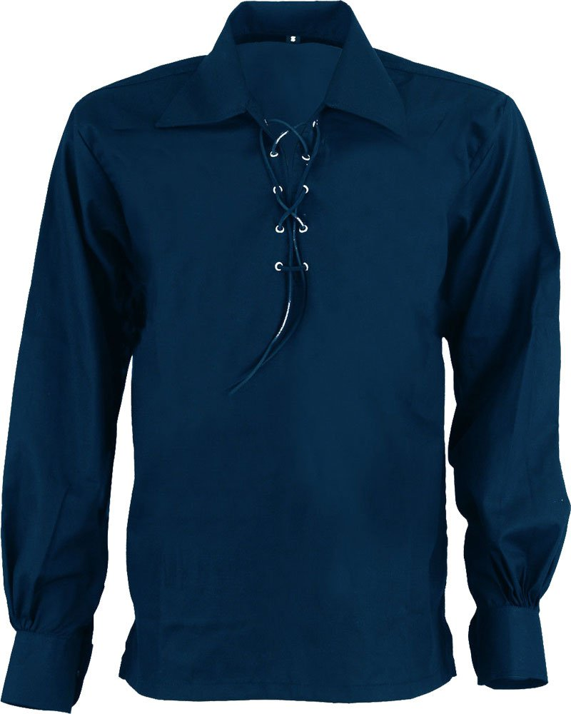High Quality Jacobite Ghillie Kilt Shirt Navy Blue Cotton Jacobean Small Shirt With Leather Cord
