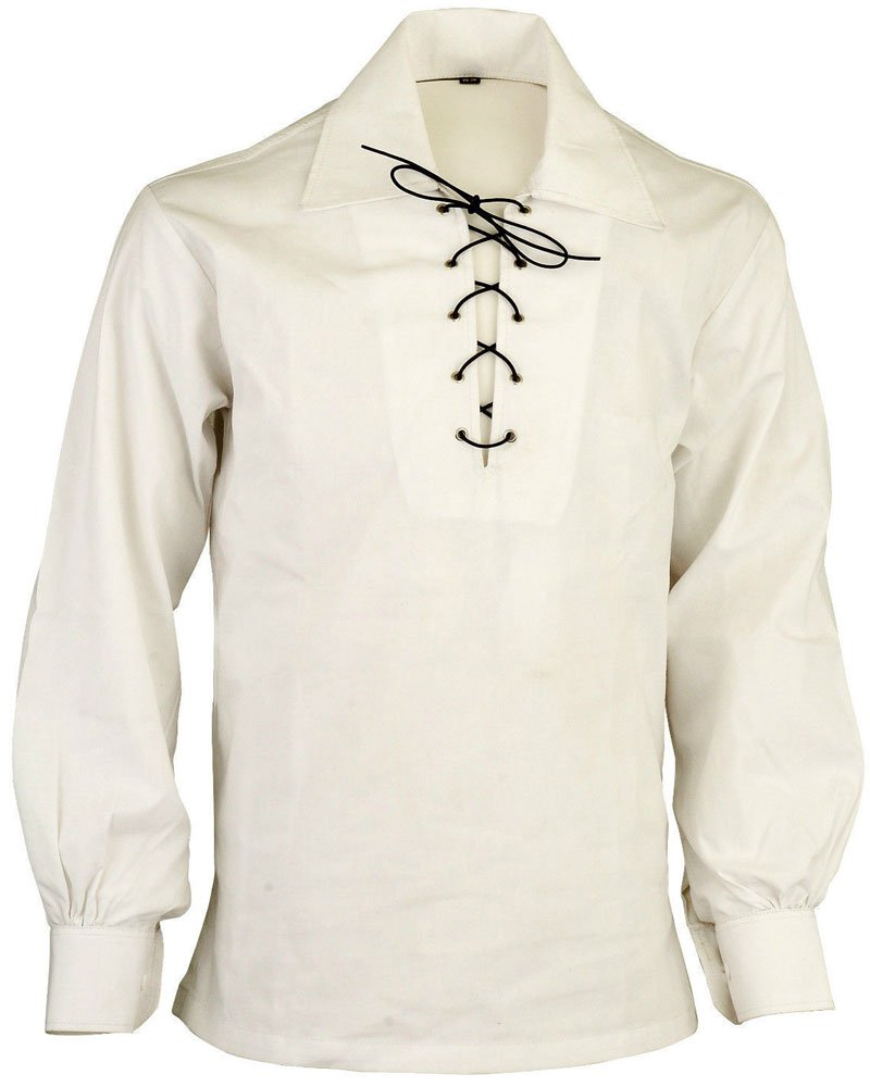 High Quality Jacobite Ghillie Kilt Shirt Off White Cotton Jacobean Small Shirt With Leather Cord