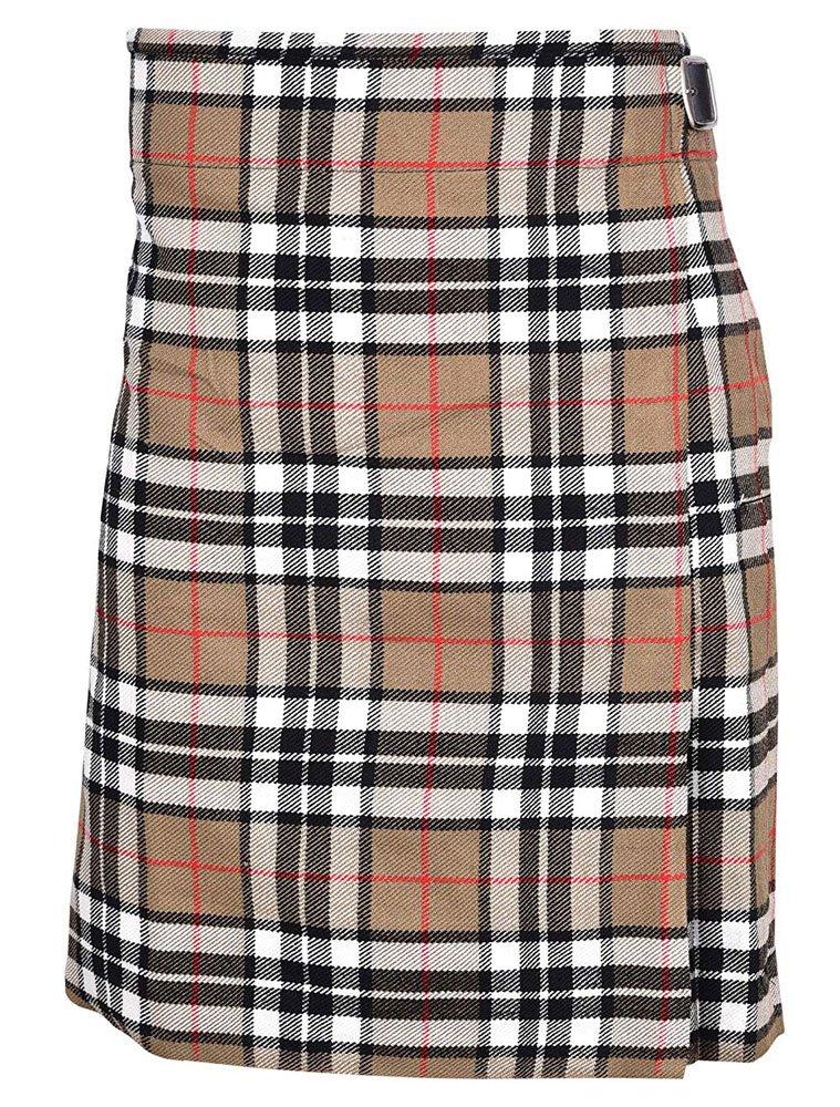 Scottish Camel Thompson Tartan 8 Yard Kilt For Men 26 Waist Size Traditional Tartan Kilt Skirt
