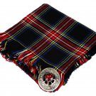 High Quality Scottish Kilt Fly Plaid Purled, Fringed Acrylic Wool In Black Stewart Tartan