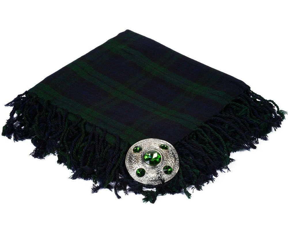 High Quality Scottish Kilt Fly Plaid Purled, Fringed Acrylic Wool In Black Watch Tartan