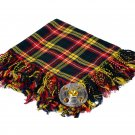 High Quality Scottish Kilt Fly Plaid Purled, Fringed Acrylic Wool In Buchanan Tartan