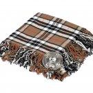 High Quality Scottish Kilt Fly Plaid Purled, Fringed Acrylic Wool In Camel Thompson Tartan