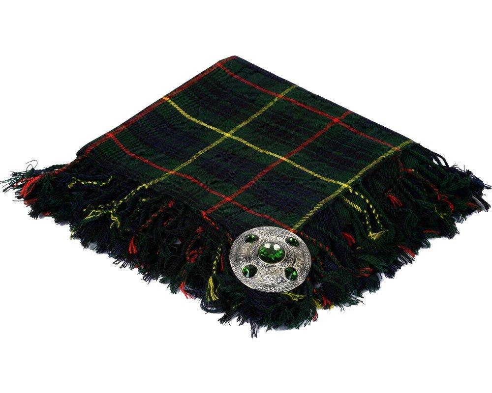 High Quality Scottish Kilt Fly Plaid Purled, Fringed Acrylic Wool In Hunting Stewart Tartan