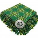 High Quality Scottish Kilt Fly Plaid Purled, Fringed Acrylic Wool In Irish National Tartan