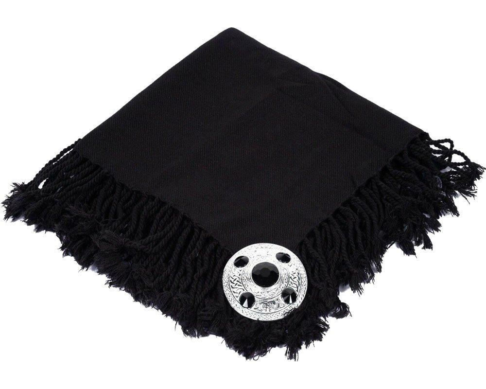 High Quality Scottish Kilt Fly Plaid Purled, Fringed Acrylic Wool In Plain Black Tartan