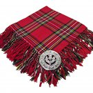 High Quality Scottish Kilt Fly Plaid Purled, Fringed Acrylic Wool In Royal Stewart Tartan