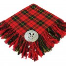 High Quality Scottish Kilt Fly Plaid Purled, Fringed Acrylic Wool In Wallace Tartan