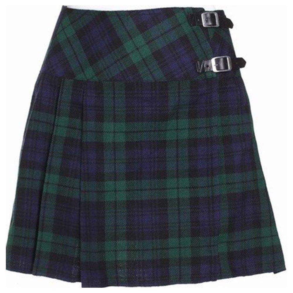 Ladies Black Watch Tartan Mini Billie Kilt Mod Skirt Girls Mini Billie Kilt Skirt