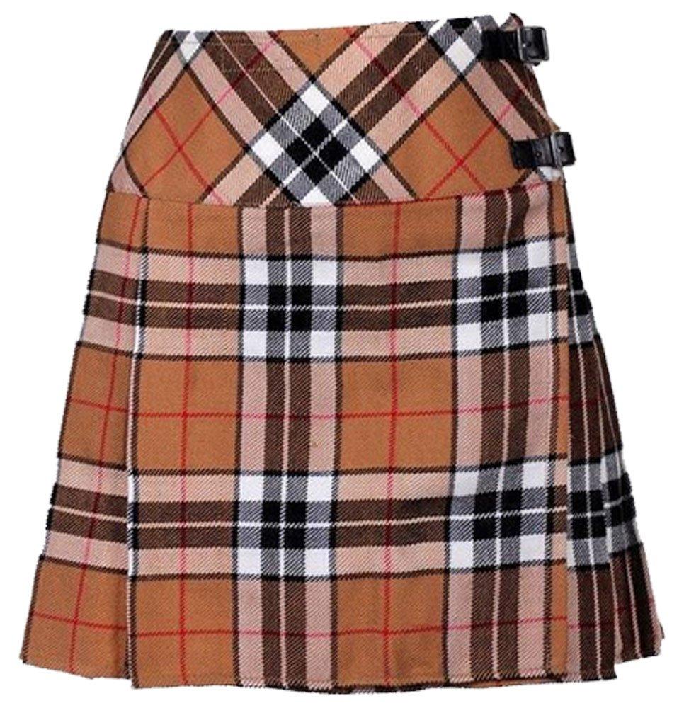 Ladies Camel Thompson Tartan Mini Billie Kilt Mod Skirt Girls Mini Billie Skirt