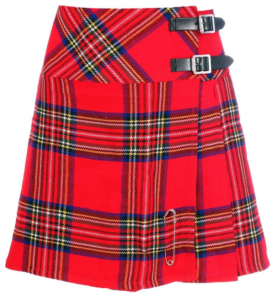 Ladies Royal Stewart Tartan Mini Billie Kilt Mod Skirt Girls Mini Billie Skirt