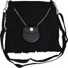 Scottish Black Tartan Ladies Kilt Shaped Purse, Traditional Clothing Hand Bag